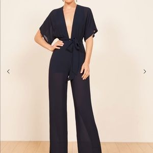 Reformation Lemongrass Jumpsuit in navy